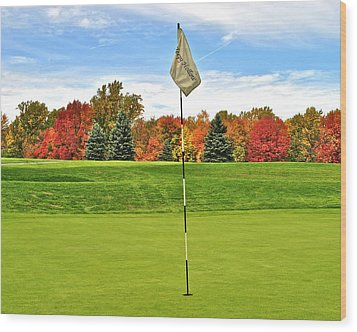 Autumn Golf Wood Print by Frozen in Time Fine Art Photography