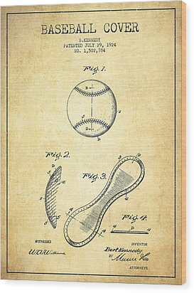 Baseball Cover Patent Drawing From 1924 Wood Print