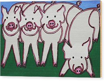 4 Beige Pigs Wood Print by Matthew Brzostoski
