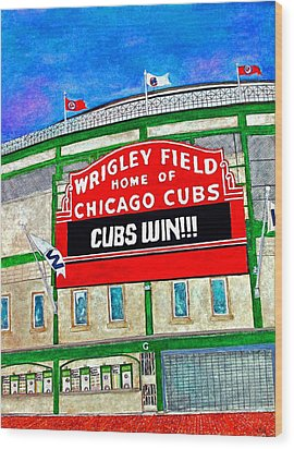 Blue Skies Over Wrigley Wood Print by Janet Immordino