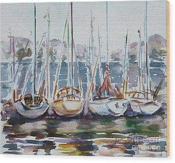4 Boats Wood Print by Xueling Zou