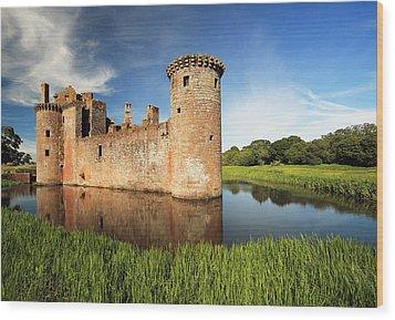 Caerlaverock Castle Wood Print by Grant Glendinning