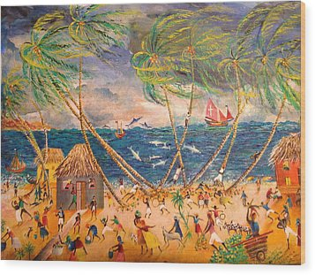 Caribbean Village Wood Print by Egidio Graziani