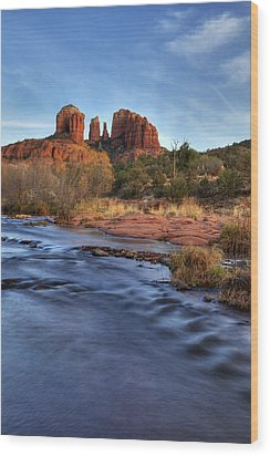 Cathedral Rocks In Sedona Wood Print by Alan Vance Ley