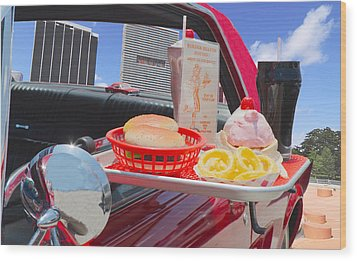 Drive In Wood Print by Rudy Umans