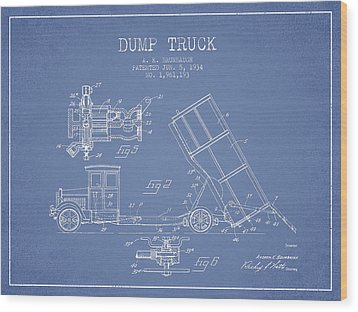 Dump Truck Patent Drawing From 1934 Wood Print by Aged Pixel