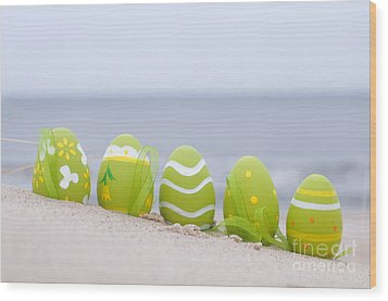 Easter Decorated Eggs On Sand Wood Print by Michal Bednarek