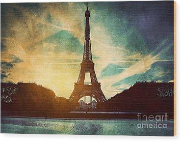 Eiffel Tower In Paris Fance In Retro Style Wood Print by Michal Bednarek