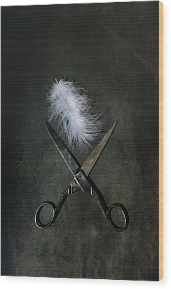 Feather Wood Print by Joana Kruse