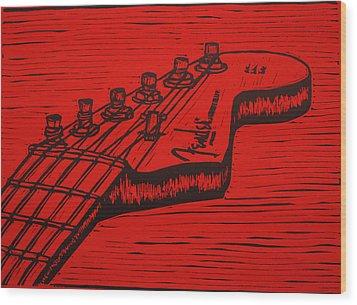 Fender Strat Wood Print by William Cauthern
