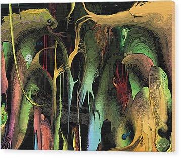 Wood Print featuring the digital art Funhouse by David Klaboe