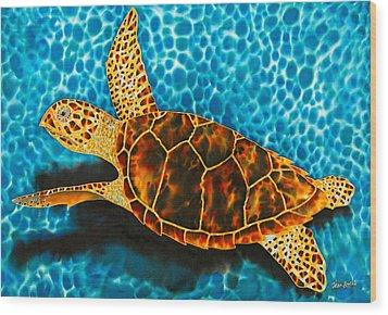 Green Sea Turtle Wood Print by Daniel Jean-Baptiste