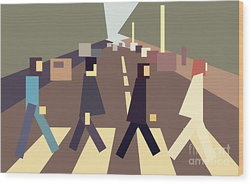 4 Guys Crossing Abbey Road Wood Print