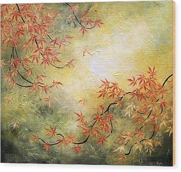 Japanese Maple Tree Wood Print by Tomoko Koyama