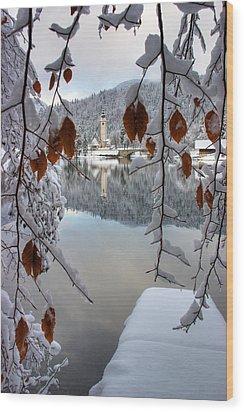 Lake Bohinj In Winter Wood Print by Ian Middleton