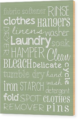 Laundry Room Wood Print by Jaime Friedman
