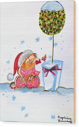 Merry Christmas Wood Print by Magdalena Frohnsdorff