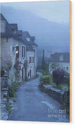 Misty Dawn In Saint Cirq Lapopie Wood Print by Brian Jannsen
