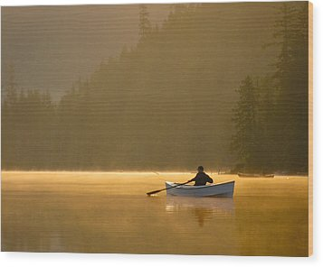 Morning Mist On The Lake Wood Print by Kathy King