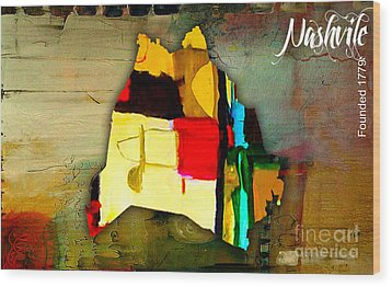 Nashville Map Watercolor Wood Print by Marvin Blaine