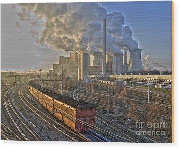 Neurath Power Station Germany Wood Print by David Davies