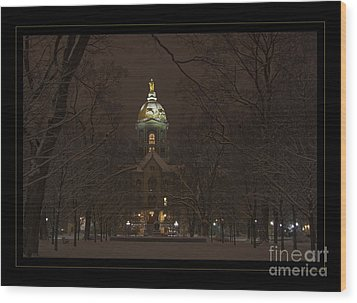 Notre Dame Golden Dome Snow Poster Wood Print