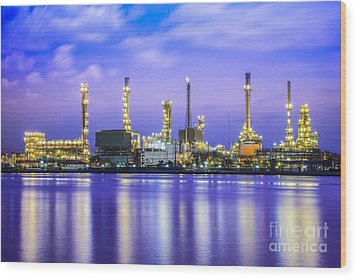 Oil Refinery Plant Wood Print