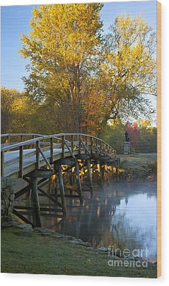 Old North Bridge Concord Wood Print by Brian Jannsen