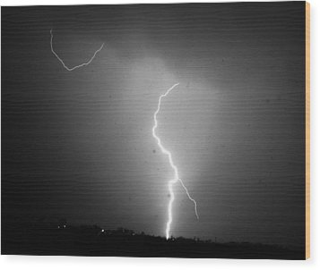 Our 1st Severe Thunderstorms In South Central Nebraska Wood Print