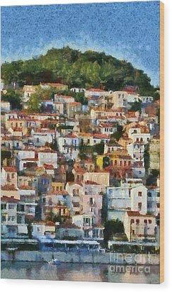 Plomari Town Wood Print