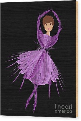 4 Purple Ballerina Wood Print by Andee Design