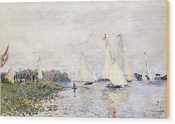 Regatta At Argenteuil Wood Print by Claude Monet