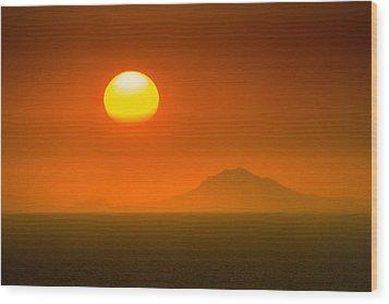 Santorini Sunset Wood Print by Bjoern Kindler