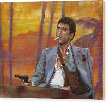Scarface Wood Print by Viola El