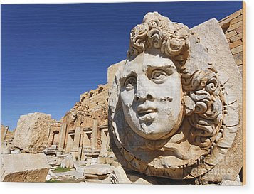 Sculpted Medusa Head At The Forum Of Severus At Leptis Magna In Libya Wood Print by Robert Preston