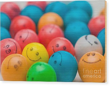 Smiley Face Gum Balls Wood Print by Amy Cicconi