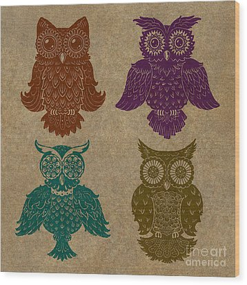 4 Sophisticated Owls Colored Wood Print by Kyle Wood