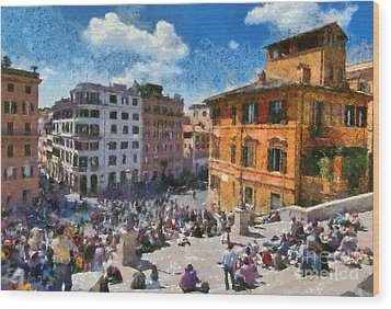 Spanish Steps At Piazza Di Spagna Wood Print by George Atsametakis
