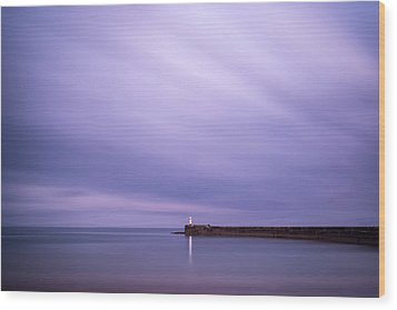 Stunning Long Exposure Landscape Lighthouse At Sunset With Calm  Wood Print by Matthew Gibson