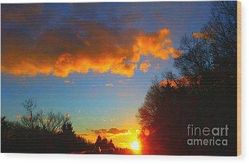 Sunset Wood Print by Rose Wang