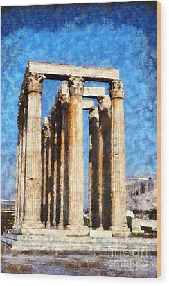 Temple Of Olympian Zeus  Wood Print by George Atsametakis