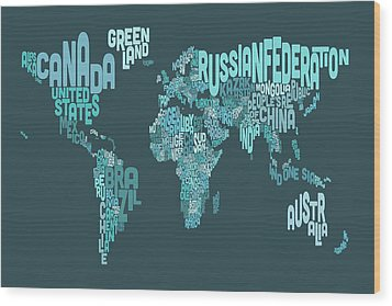 Text Map Of The World Map Wood Print by Michael Tompsett