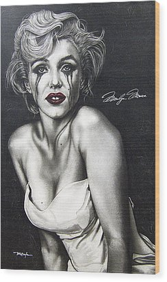 Wood Print featuring the painting The True Marilyn by Dan Menta