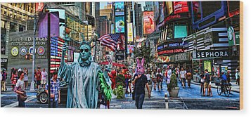 Times Square On A Tuesday Wood Print by Lee Dos Santos