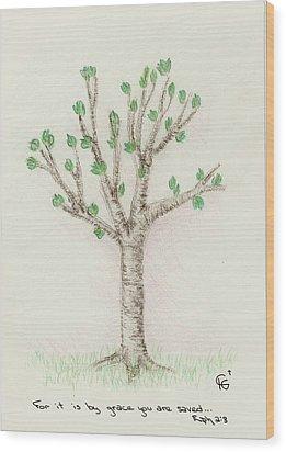 4 Trees-3rd Tree Spring Wood Print