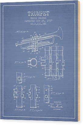 Trumpet Patent From 1939 - Light Blue Wood Print by Aged Pixel