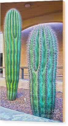 Tucson Arizona Cactus Wood Print by Gregory Dyer