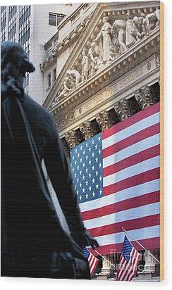 Wall Street Flag Wood Print by Brian Jannsen