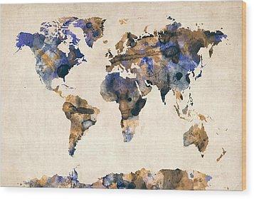 World Map Watercolor Wood Print by Michael Tompsett
