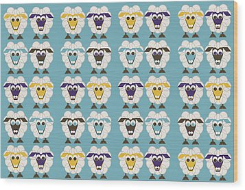 40 Sleep Sheep Wood Print by Asbjorn Lonvig
